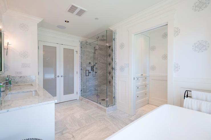 Master Bathroom opens Up to Walk In Closet Transitional Bathroom