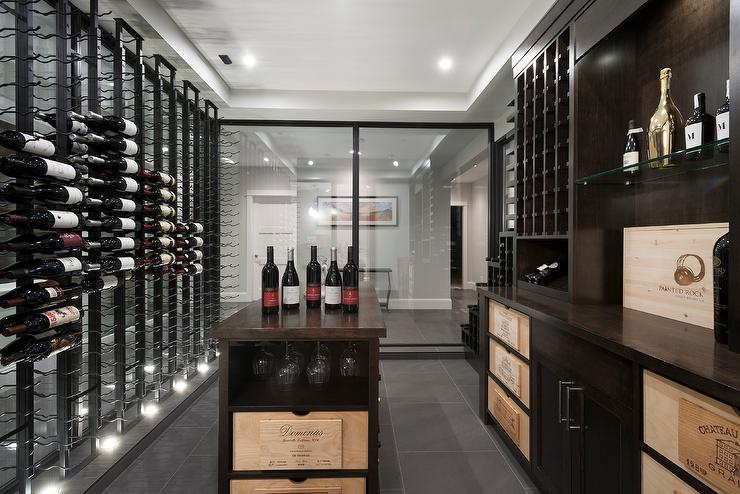 Modern Basement Wine Cellar With Floor To Ceiling Wine