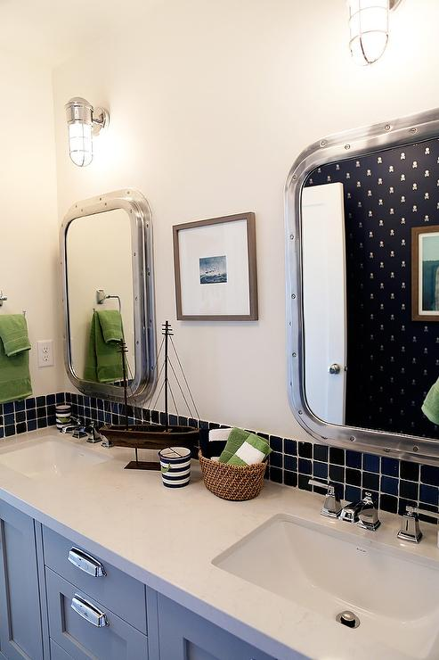Nautical Boys Bathroom With Submarine Inset Medicine Cabinets