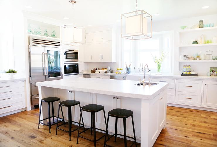 White Kitchen Island With Backless Black Metal Counter