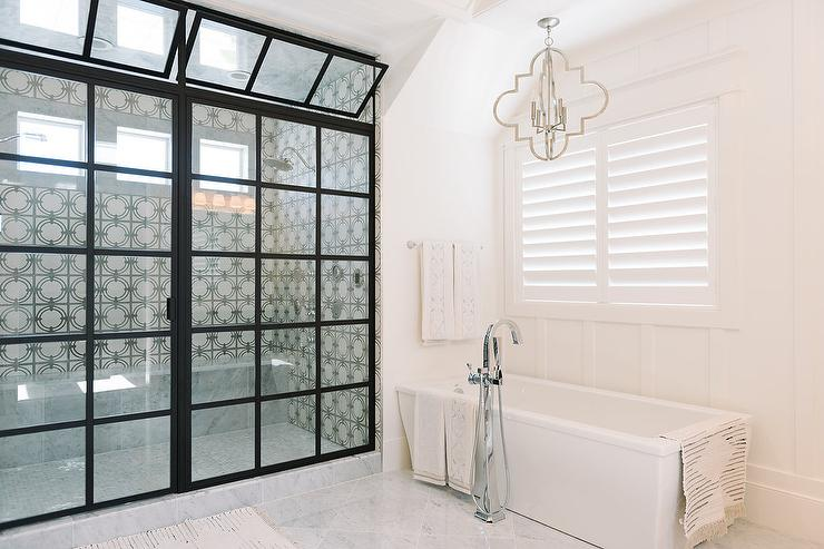 Glass And Steel Steam Shower With Tilt Out Windows