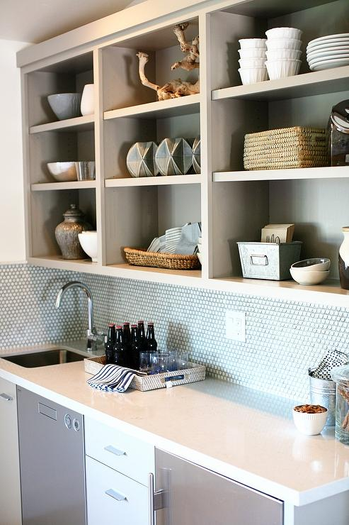Gray Wet Bar With White Penny Tile Backsplash