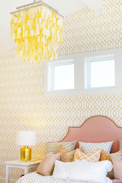 yellow and pink kids bedroom with capiz chandelier - Metallic Kids Room Interior