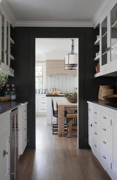 Black Kitchen Walls White Cabinets glass front butler pantry cabinets design ideas