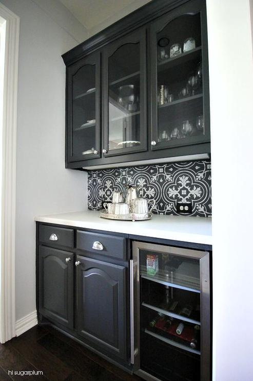Black And White Butler Pantry Tile Backsplash Transitional Kitchen