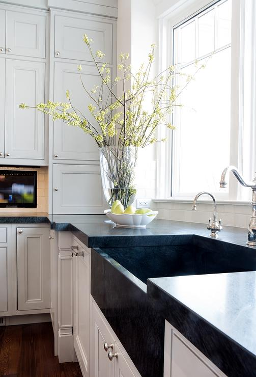 White Kitchen Cabinets With Black Apron Sink