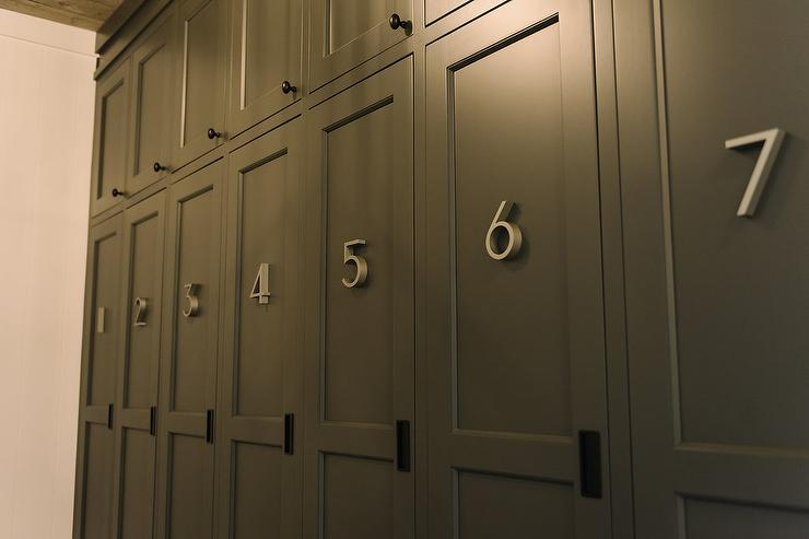 Charcoal Gray Mudroom Lockers With Metal Numbers Cottage