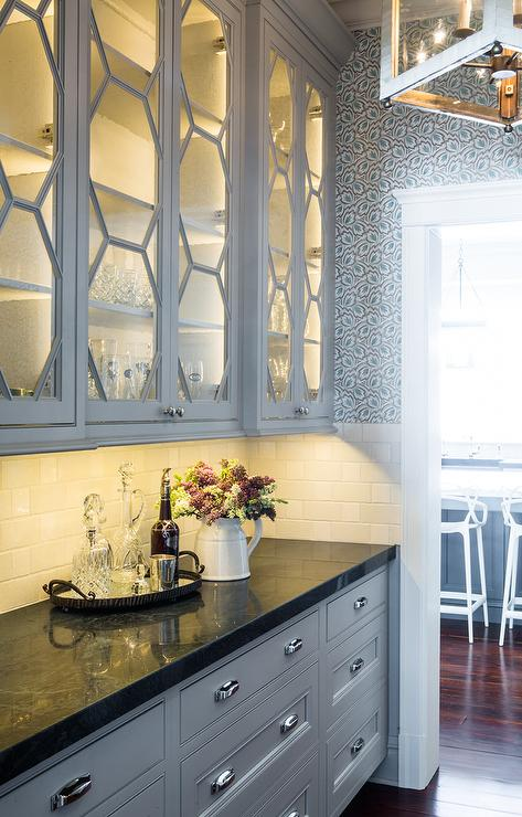 glass cabinet lighting. Butlers Pantry With Glass Honeycomb Cabinets Cabinet Lighting A