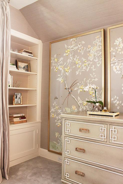 Gray Chinoiserie Bedroom With Greek Key Chest Asian