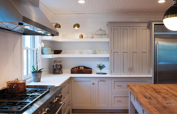 Gray Kitchen Cabinets with Floating White Shelves - Transitional ...