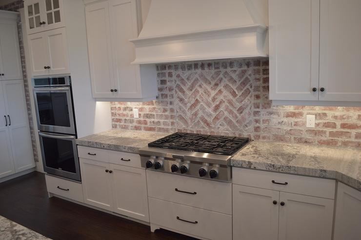 Red Brick Kitchen Backsplash view full size