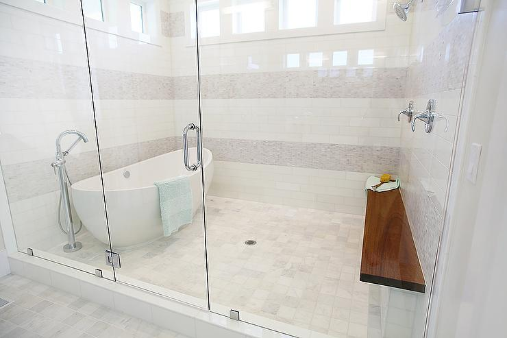 Egg shaped tub in walk in shower contemporary bathroom for Huge walk in shower