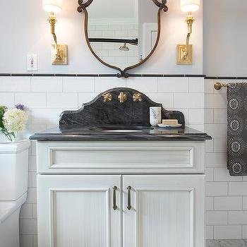 Powder Room Vanity With Curved Marble Backsplash
