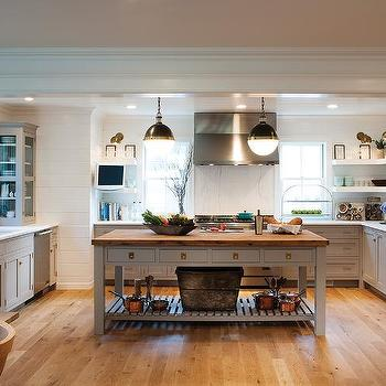 Light Gray Kitchen Cabinets With Unlacquered Brass Hardware