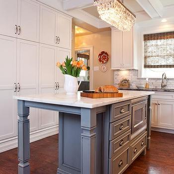 Narrow Gray Kitchen Island With Microwave
