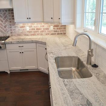 Gray Quartzite Countertops With Stainless Steel Kitchen Sink