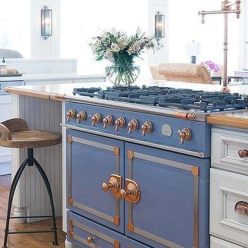 Kitchen Island With La Cornue CornuFe Stove Provence Blue Chrome