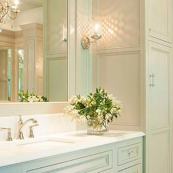 traditional gray master bathroom cabinets with glass hardware