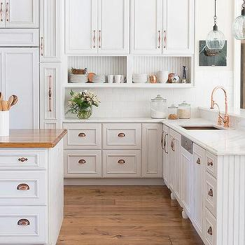 Wonderful White Kitchen Cabinets With Copper Cup Pulls And Copper Sink Part 25
