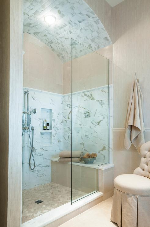 Walk In Shower With Marble Tiled Barrel Ceiling