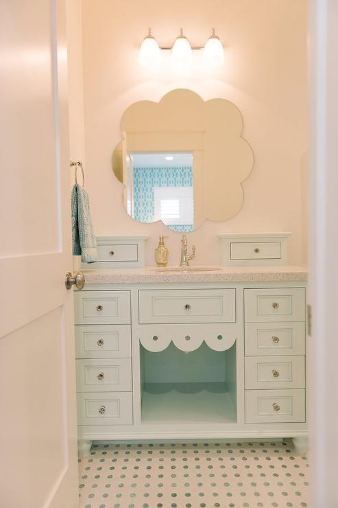 Mint Green Bathroom Vanity With Mint Green Dot Tiles Contemporary Bathroom