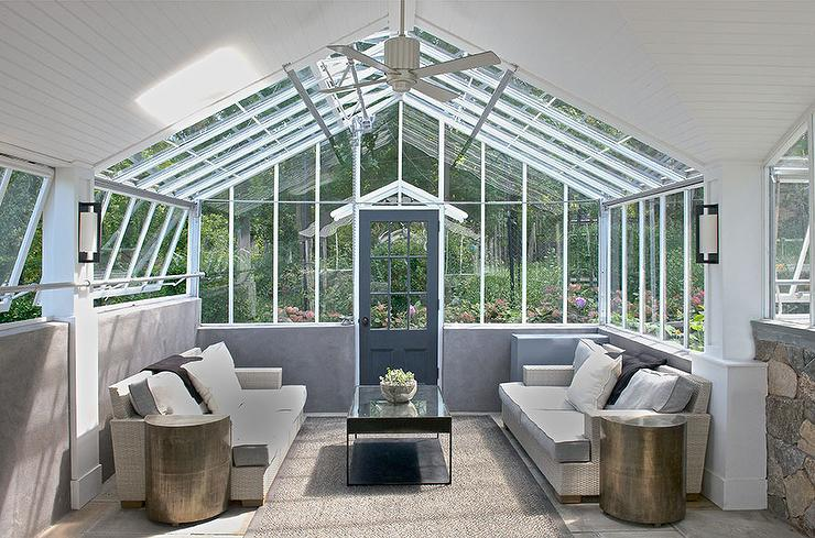 Modern Sunroom With Vaulted Glass Ceiling Modern Deck