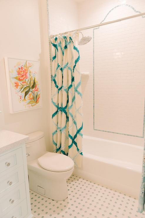 Kids Bathroom with Turquoise Blue Shower Curtain