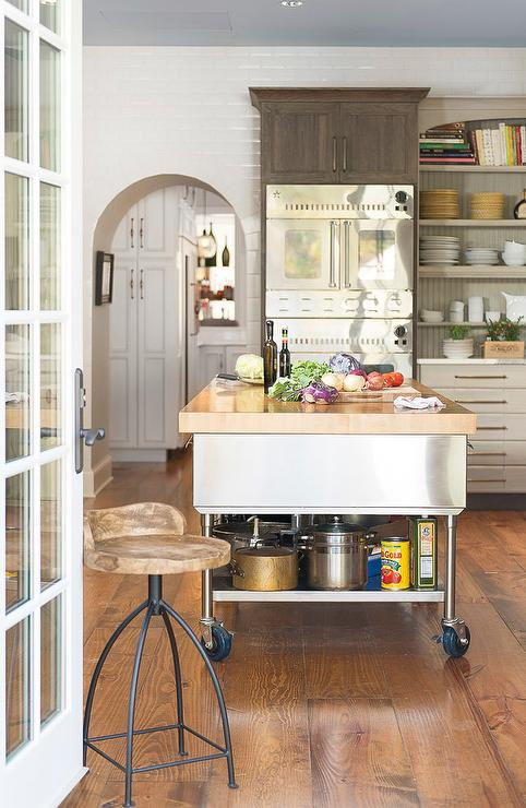 kitchen island with wheels stainless steel kitchen island with shelf on wheels eclectic kitchen 7077