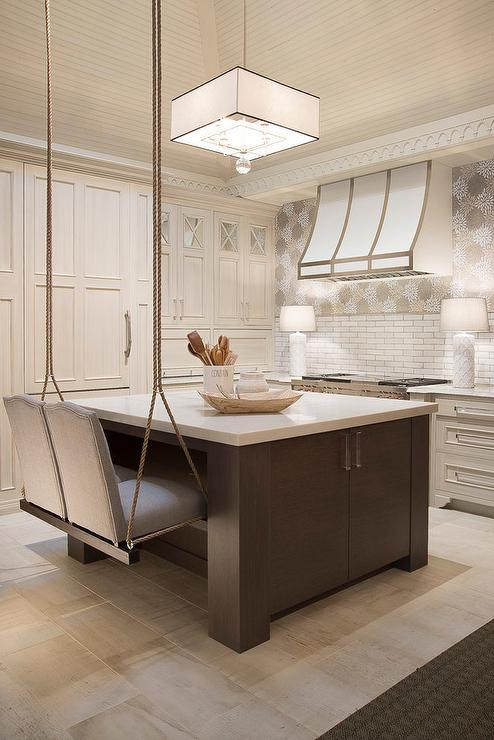 White Kitchen Island Bench swinging kitchen island bench design ideas