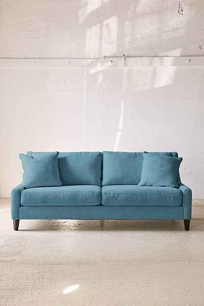 Collins Marled Chenille Teal Sofa
