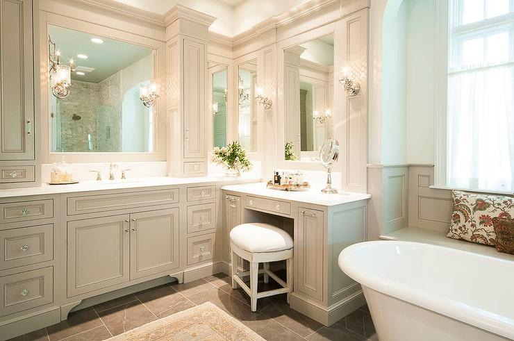 traditional gray bathroom with makeup vanity view full size - White Bathroom Cabinets And Vanities
