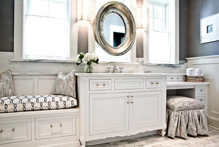 White and gray bathroom with built in window seat transitional bathroom for Bathroom vanity with seating area