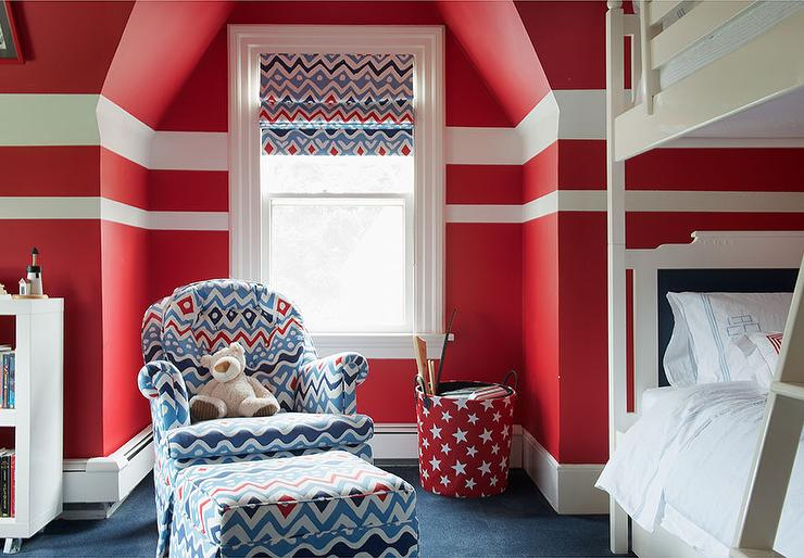 Red and blue boy bedroom with white bunk beds for Blue and white boys room