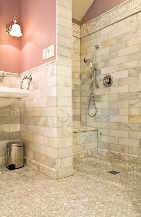 Pink kids bathroom with open shower traditional bathroom - Open shower bathroom design ...