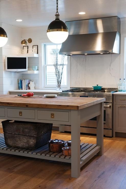 Superior Gray Kitchen Island With Unlacquered Brass Recessed Hardware