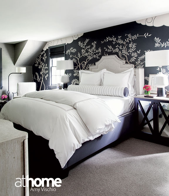 Black And White Bedroom With Gray Headboard