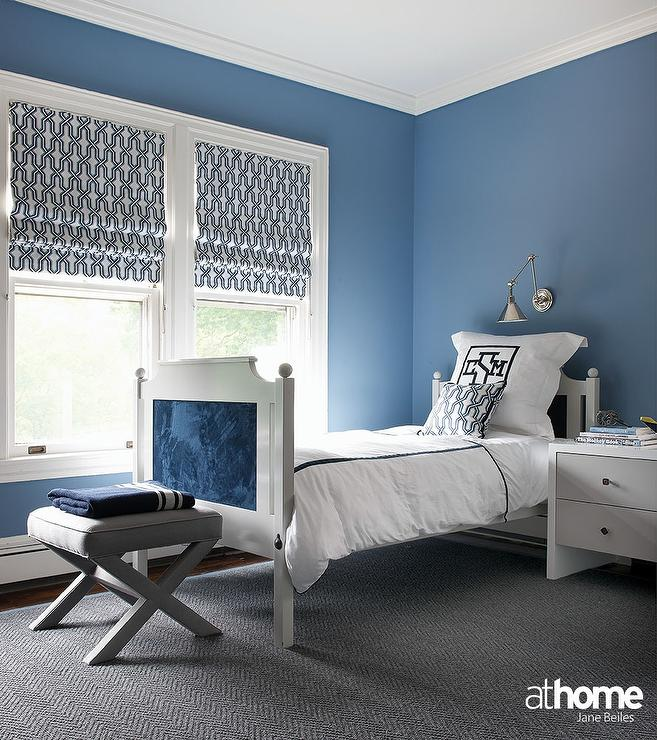 gray and blue boy bedroom with monogram bedding contemporary boy 39 s
