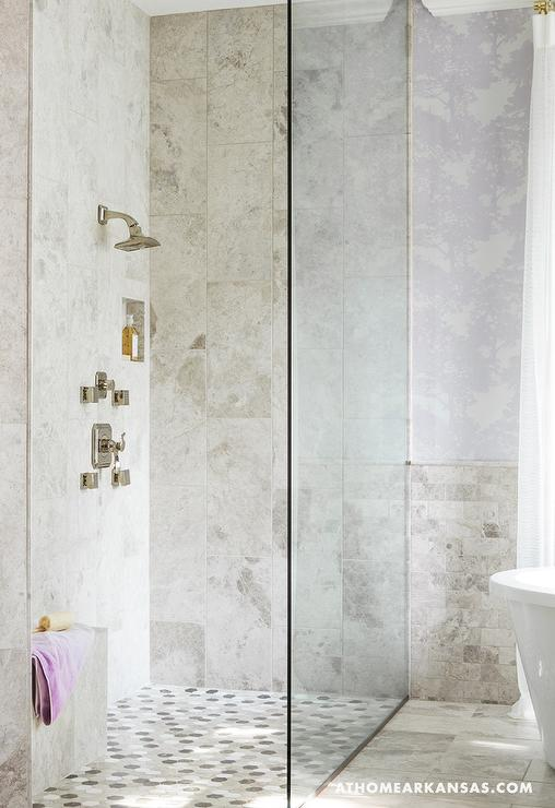 Corner Shower With Mosaic Shower Floor Contemporary