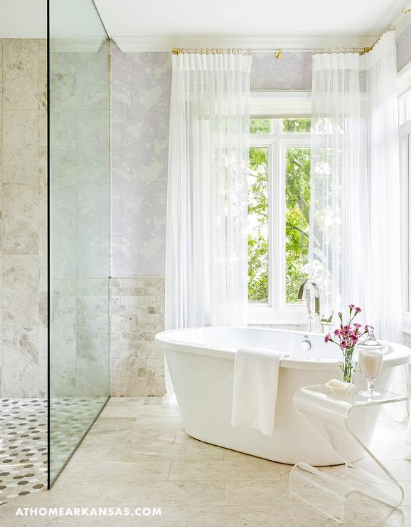 Catty Corner Freestanding Tub In Front of Windows - Contemporary ...