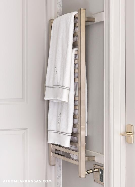 Decorative Towel Warmers : Gray bathroom with wall mount towel warmer contemporary