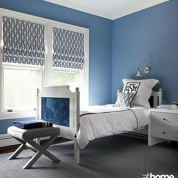 Blue boy bedroom with gray accents contemporary boy 39 s room for Blue and white boys room