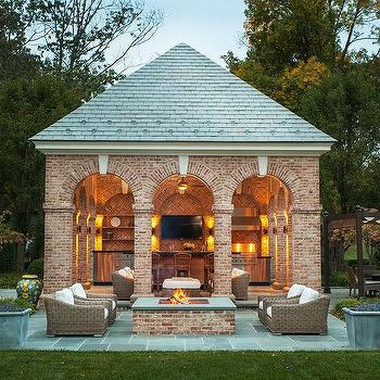 Brick Pool House With Kitchen