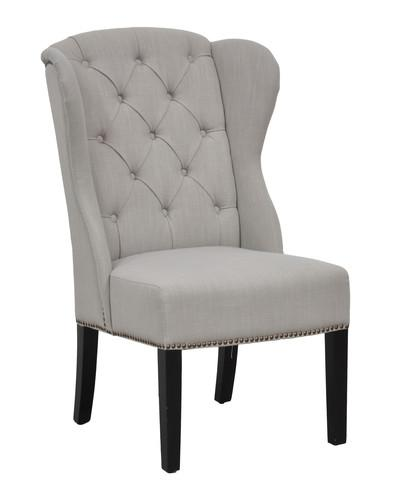 Hayes Side Chair Stone Gray Linen - Blue Tufted Wingback Armless Dining Chair