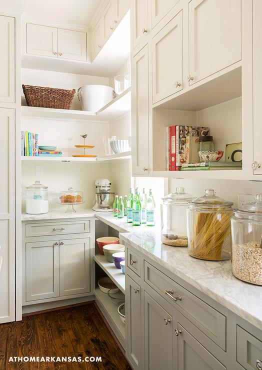 Two Tone Kitchen Pantry With White And Gray Cabinets