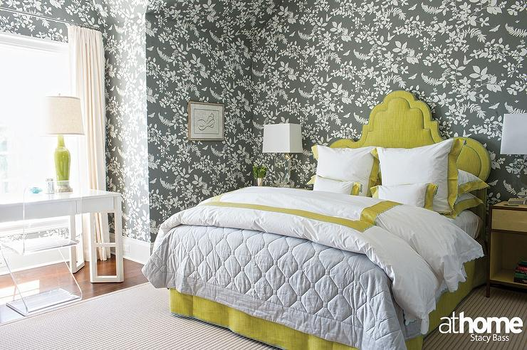 yellow and gray bedroom with citron headboard contemporary bedroom. Black Bedroom Furniture Sets. Home Design Ideas