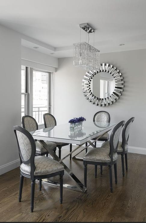 Glamorous Nyc Dining Room With White Lacquer And Chrome Dining Table Crystal Chandelier And Custom Upholstered Dining Chairs