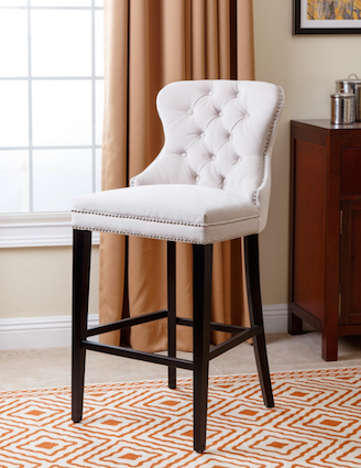 Abbysone Living Versailles Tufted Barstool Ivory view full size