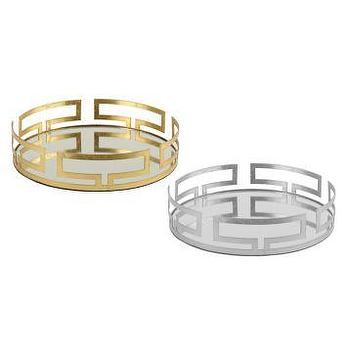 Gold And Silver Metallic Cleo Mirrored Vanity Tray