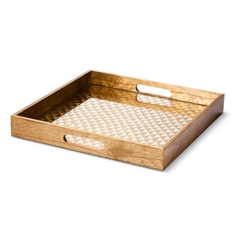 threshold wooden decorative tray with gold pattern - Decorative Tray