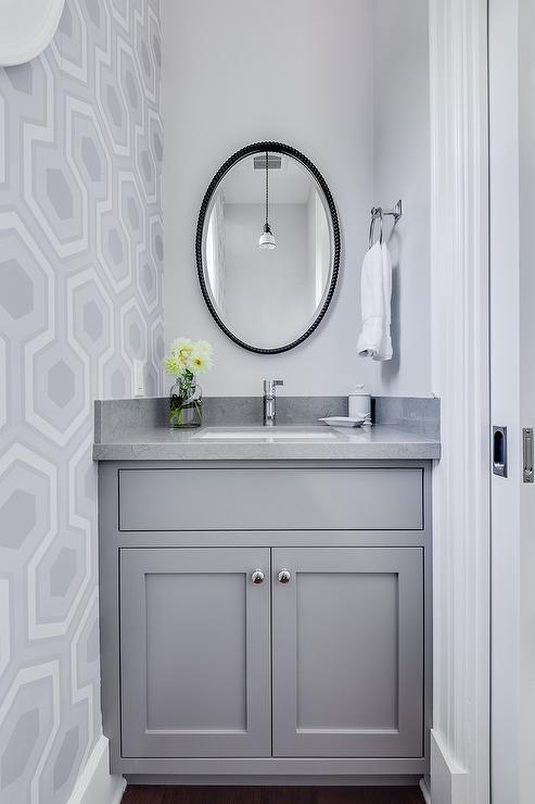 Gray quartz countertops design ideas for Wallpaper for small powder room